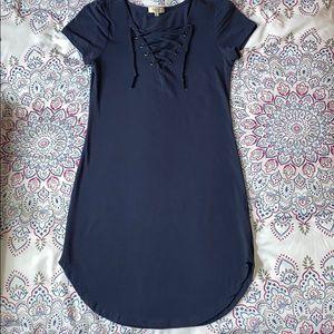 Lace up navy blue mini dress